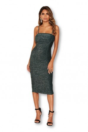 Women's Teal Ruched Sparkle Midi Dress
