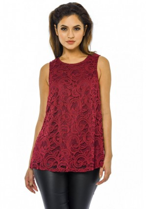 Women's Lace Split Back  Wine Top