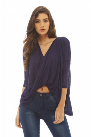 Women's Knitted Wrap Front  Navy Top