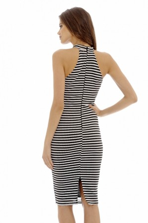 Women's Striped Bodycon Midi  Black Cream Dress