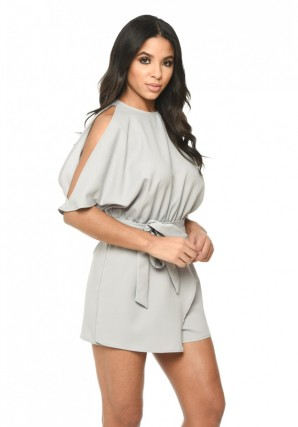 Women's Grey Cold Shoulder Romper With Wrap Detail