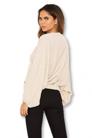 Women's Stone Polka Dot Wrap Over Top