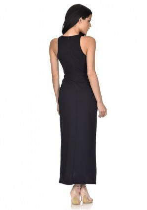 Women's Black Wrap Embellished Maxi Dress