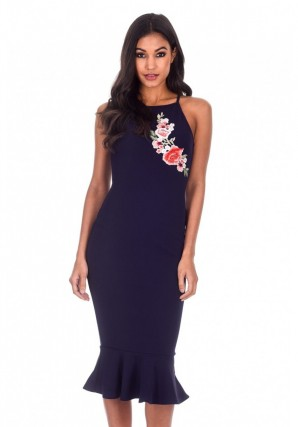 Women's Navy Floral Embroidered Midi Dress