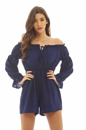 Women's Off The Shoulder  Navy Playsuit