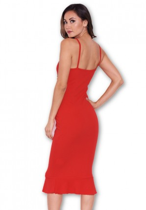 Women's Red Midi Dress With Frill Hem And Floral Crochet Detail
