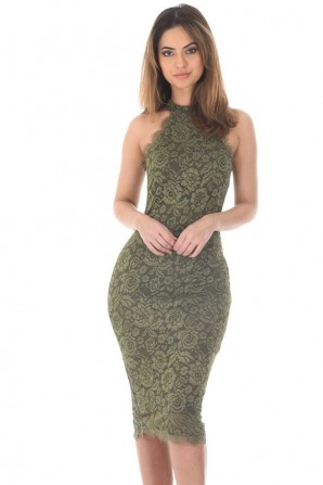 Women's Khaki Lace High Neck Bodycon