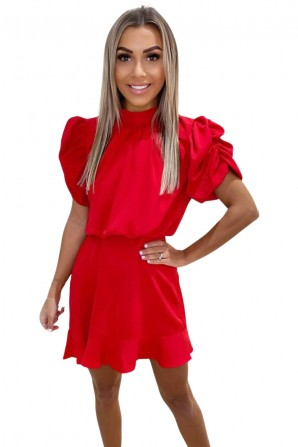 Women's Red High Neck Puff Sleeve Skater Dress