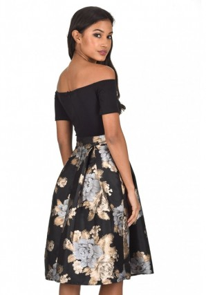 Women's Black and Gold Two In One Floral Skater Dress