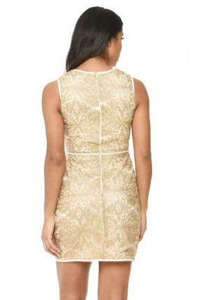 Women's Gold Embroidered A Line Dress