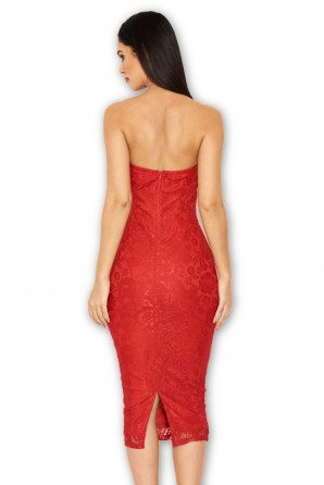 Women's Red Lace Notch Front Midi Dress