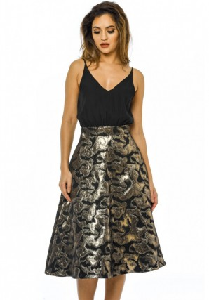 Women's 2 in 1 Metallic Midi Skirt Black Dress