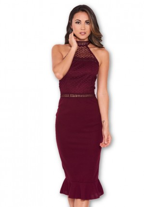 Women's Plum Midi Dress With Crochet Detail