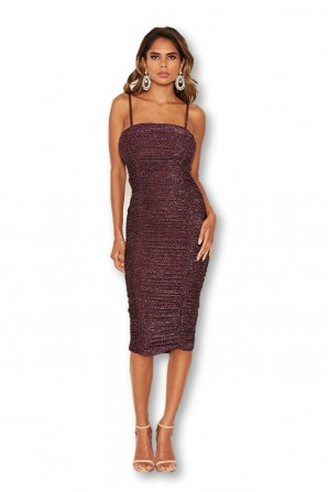 Women's Plum Ruched Sparkle Midi Dress