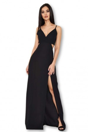 Women's Black Cut Out Maxi Dress