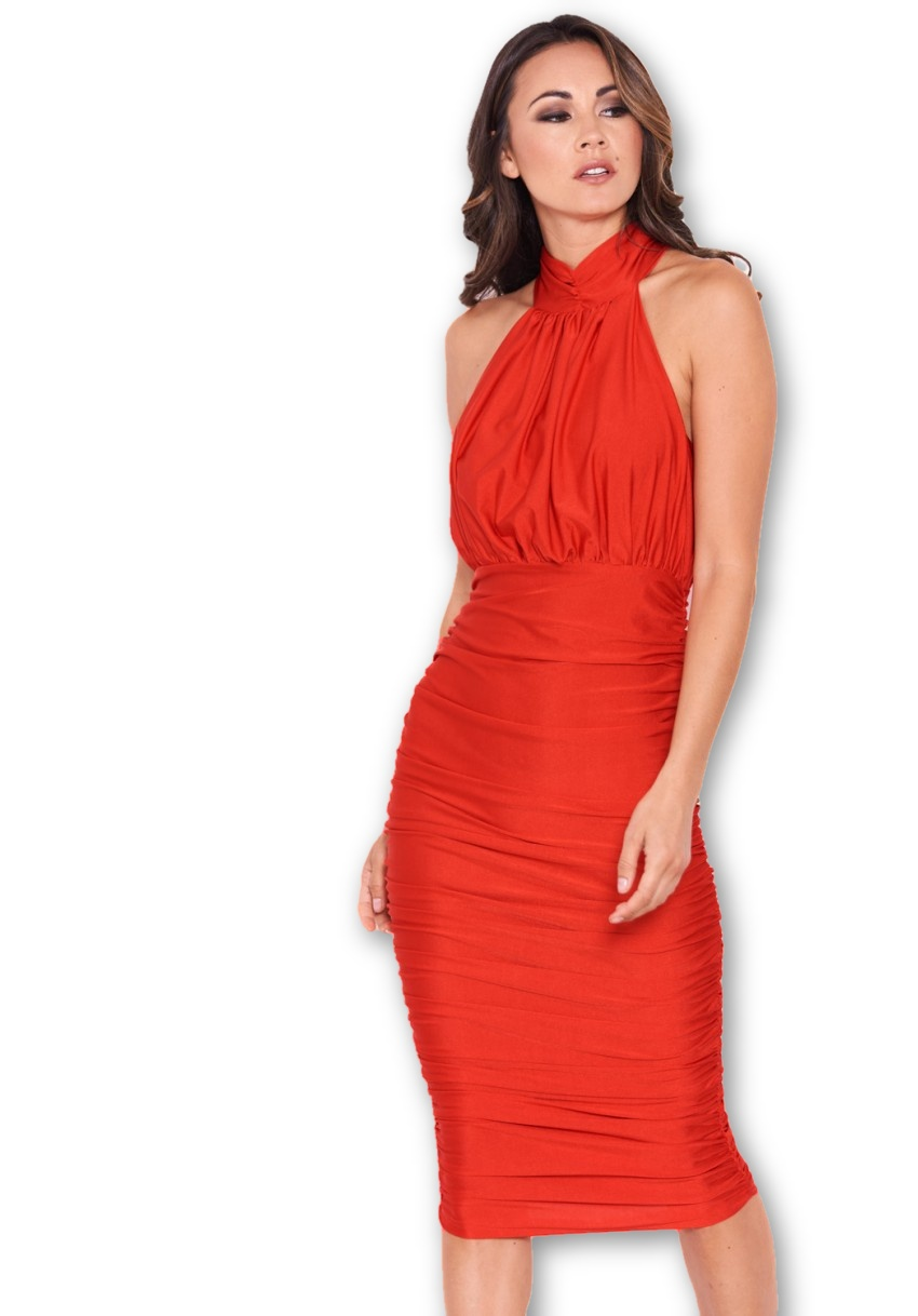 664cd217e136 Women's Red Ruched Halterneck Slinky Bodycon Dress - AX Paris USA ...