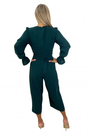 Women's Teal Wrap Over Elasticated Cuff Belted Jumpsuit