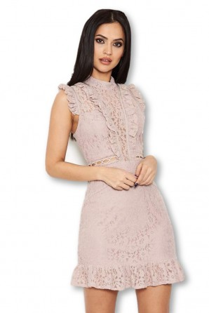 Women's Mushroom Lace Frill Detail Dress