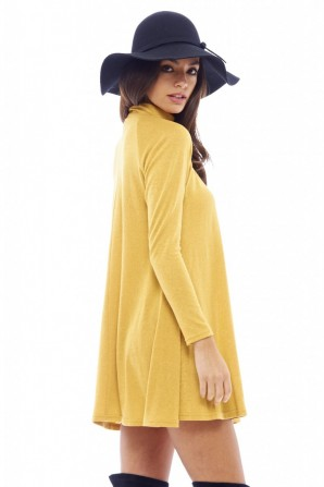 Women's Turtle Neck Swing Mustard Dress