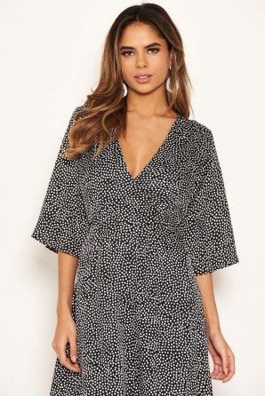Women's Black Polka Dot Frill Wrap Midi Dress