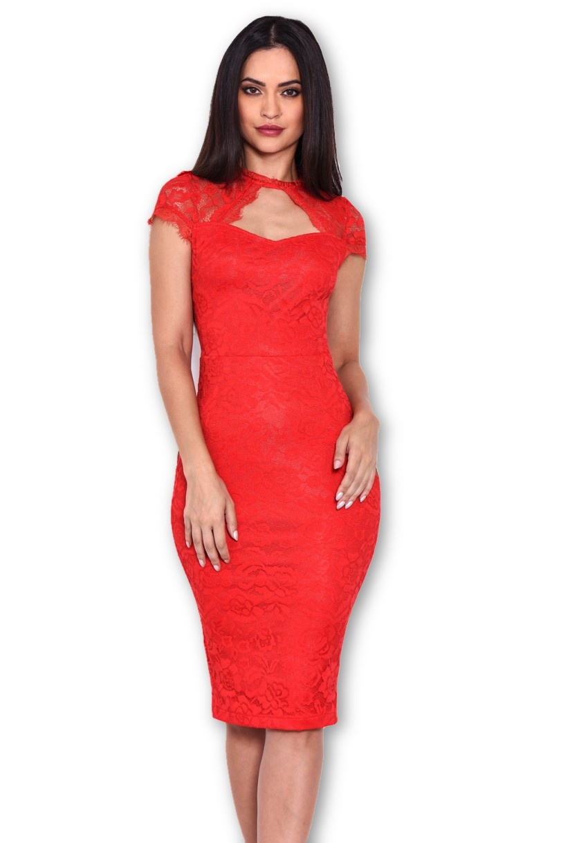 Red Party Open Back Lace Midi Dress With Bow Detail