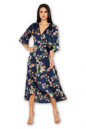 Women's Navy Floral Print Midi Wrap Dress