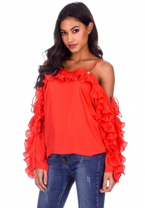 Women's Red Frill Detail Off The Shoulder Top