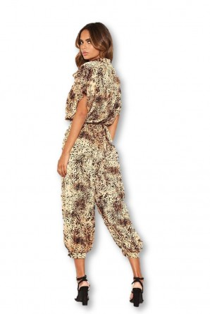 Women's Animal Print Button Up Jumpsuit