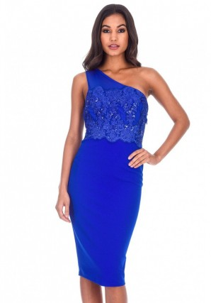 Women's Blue One Shoulder Sequin Embroidered Bodycon