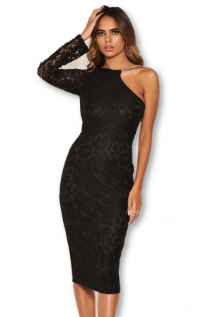 Women's Black Lace One Shoulder Dress With Chain Detail