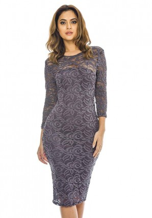 AX Paris Women's Pewter 3/4 Sleeve Lace Bodycon