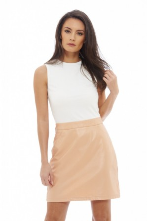 Women's 2 In 1 PU Mini Cream Pink Dress