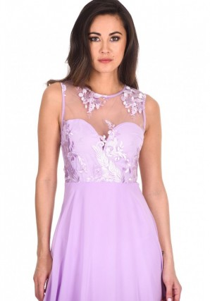Women's Lilac Embroidered Mesh Dipped Hem Dress