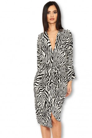 Women's Zebra Print Wrap Dress