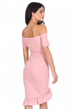 Women's Blush Off The Shoulder Frill Detail Bodycon Dress