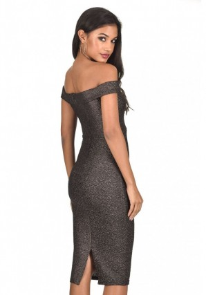 Women's Black Off The Shoulder Sparkle Midi Dress