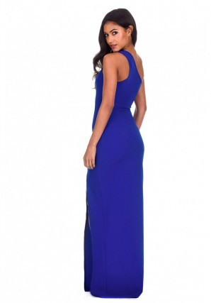 Women's Blue Asymmetric Thigh Split Maxi Dress