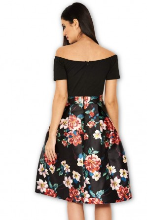 Women's Black Floral 2 in 1 Skater Midi Dress