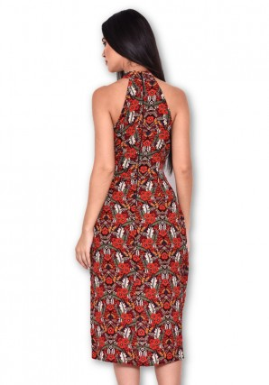 Women's Red Floral Choker Neck Dress