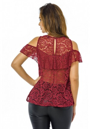 Women's Cold Shoulder Lace  Wine Top