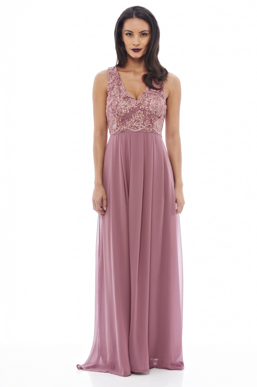 Women S Lace Top Maxi Mauve Dress Ax Paris Usa Fashion