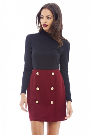 Women's Button Detail Mini Wine Dress