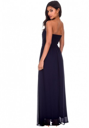 Women's Navy Crochet Bandeau Top Maxi Dress