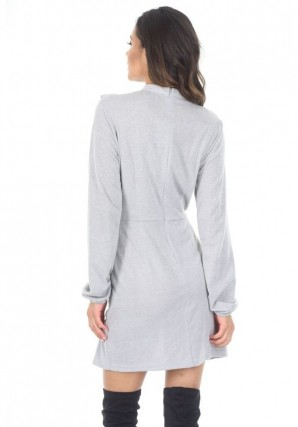 Women's Silver Frill Front Skater Dress