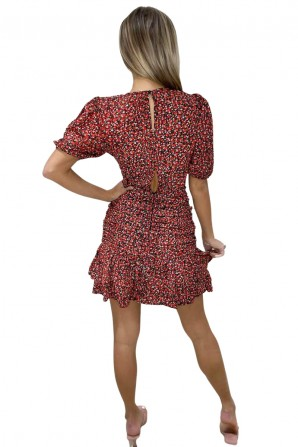 Women's Red Ditsy Floral Ruched Frill Dress