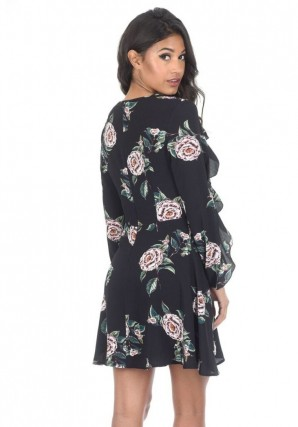 Women's Black Bell Sleeve Floral Skater Dress
