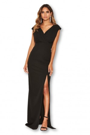 Women's Black Wrap V Neck Slit Maxi Dress