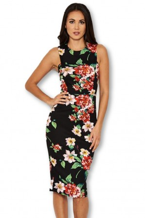 Women's Black Floral Bodycon Dress