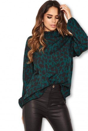 Women's Green Leopard Print High Neck Top