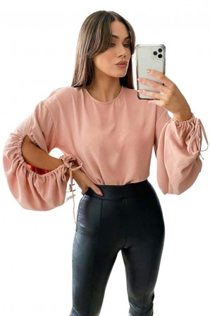 Women's Nude Key Hole Sleeve Blouse